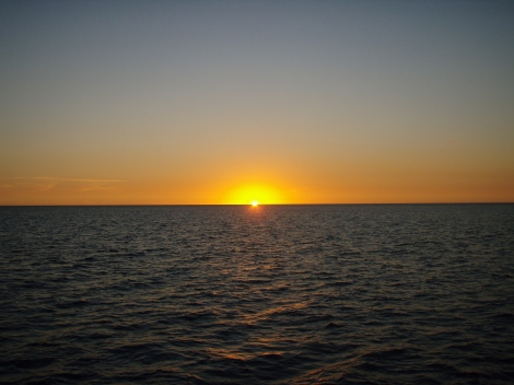 Sunset on calm seas