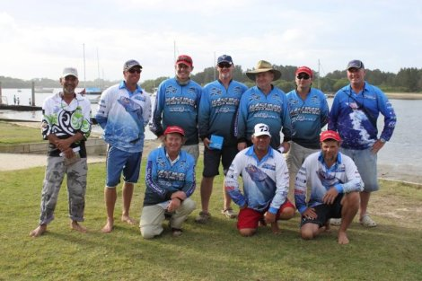 Some members of the Hastings Bream and Bass Club after the 2012 Port Macquarie Classic