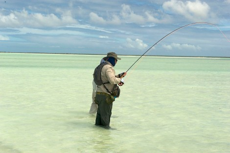Troutie Greg Sutton hooked up to his first bonefish
